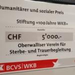 Danke an die Walliser Kantonal Bank für die Anerkennung - Danke an unser Team
